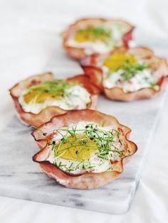 Serve egg in crispy ham cups for a bite-size, gluten-free brunch appetizer.