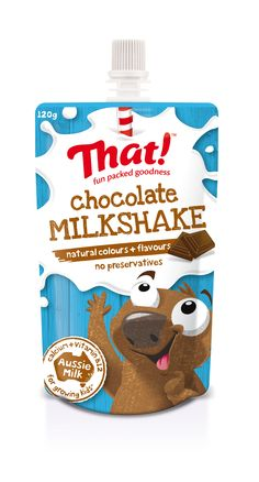 That! Milkshake chocolate - packed with the goodness of Aussie milk. In a squeezy on-the-go pouch, a perfect kids lunchbox idea