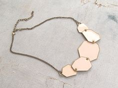80s Geometric Statement Necklace Vintage Pale Pink by MeshuMaSH