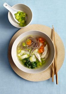 Miso Noodle Soup  Miso, chard, and buckwheat noodles stand in for bouillon, peas, and pasta in this twist on classic chicken noodle soup. Leeks and scallions add cancer-fighting phytochemicals to the magnesium- and folate-rich brew.    This recipe is part of our superfoods menu .