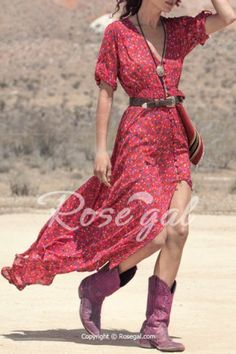 40c0b9c1517 Bohemian V-Neck Printed High Slit 3 4 Sleeve Dress For Women Maxi Dresses