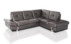VGNI902-T5-GRY-Divani Casa Vincenza Modern Grey Full Leather Sectional Sofa Finishing: Grey Full Leather Dimensions: Left Facing 3 Seater: W77