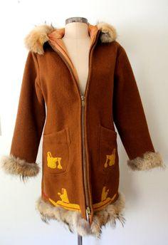 INUVIK ★ 1960s Sled Dogs WOOL & FUR Parka / Winter Coat: Lolavintage.com