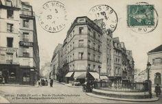 La rue de la Montagne-Sainte-Geneviève près de la fontaine Sainte-Geneviève, au carrefour avec la rue de l'Ecole-Polytechnique, vers 1910