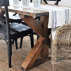 Get the free plans and learn how to build this farmhouse style dining room table.