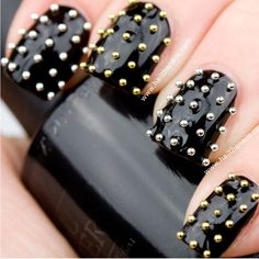 Gold & Silver Metallic Caviar Studs Nail Art - This seasons must have nails.....perfect for the GAGA concert!