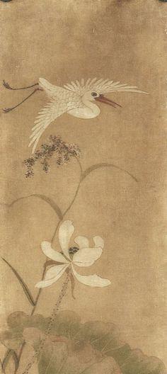 (Korea) White flower and white bird by lady Shin Saimdang color on silk. Lotus Painting, Japan Painting, Painting Of Girl, Korean Painting, Chinese Painting, Chinese Art, Traditional Paintings, Traditional Art, Asian Artwork