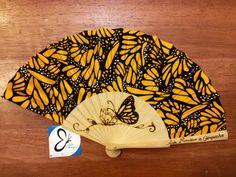 Artisanal fan, monarch butterfly, handmade accesories, exclusive design.