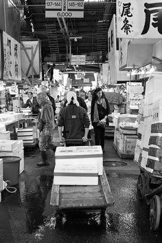 Working in Tsukiji Fish Market Japan Trip, Japan Travel, I Fall In Love, Falling In Love, Textiles Sketchbook, Memoirs Of A Geisha, Tsukiji, Urban Landscape, Other People