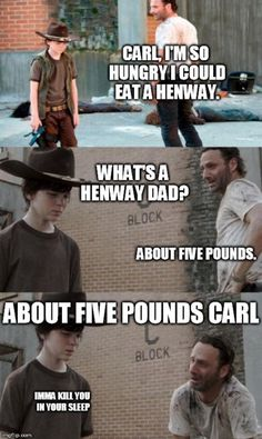 35 of the best walking dead carl meme (coral) dad jokes Walking Dead Carl Meme, Walking Dad Jokes, Walking Dead Coral, The Walking Dad, Twd Memes, Rick Memes, Rick And Carl, Girl Humor, Funny Stuff