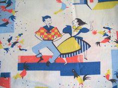 Vintage Novelty TableclothFunky Farm Hoe by GrammasLinenCloset, $22.00