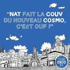 """Nat fait la #couv du nouveau #cosmo c'est ouf !"" #FLE #apocopes # #thedico #apocope #dico #colloquial #learnfrench"