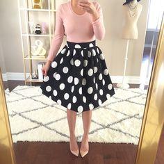 Adore this big dot flare skirt!