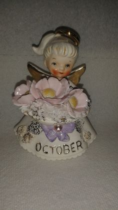 MINT Vintage Lefton Birthday Angel  October  by NipigonCollections