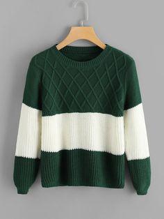 315da031a6dee2 Contrast Panel Sweater -SheIn(Sheinside) How To Purl Knit