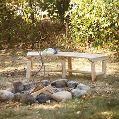 Cedar/Fir Log Firepit Bench -  Curved to fit pit area for comfortable seating around the campfire
