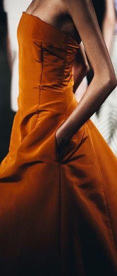 Fabulous burnt orange velvet strapless gown with pockets