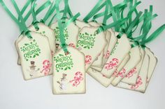 Choose red ribbon, green ribbon 20 Christmas Gift Tags with Red OR Green Curling Ribbon Glittered Snowman Antiqued Edging 2.75 x 1.75 The