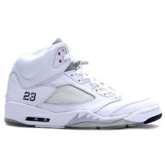 Air Jordan Retro 5 White Metallic Silver Black 136045-101 $54