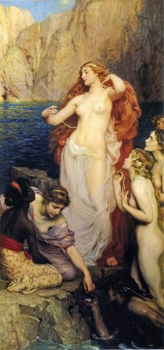 Herbert James Draper (1863-1920) - Pearls of Aphrodite | artistically it's well done but notice how the dark skinned girl attracts no attention she doesn't look a slave nor servant the colors in this picture i wonder what the meaning is...i wonder if she means the most being what the eye draws to last or something more intelligent maybe idk