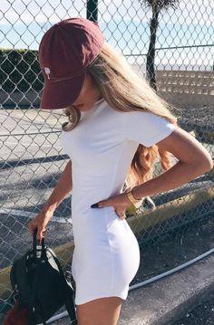 Summer Casual Outfit Hat Plus Bag Plus White T Sh