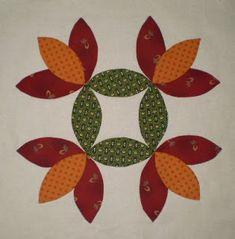 Past Reflections Block 7 - Bay Leaf Applique Pillows, Applique Quilt Patterns, Pattern Blocks, Star Quilts, Quilt Blocks, Pom Pom Tree, Fat Quarter Quilt, Flower Quilts, Basket Quilt