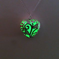 Green Glowing Necklace Glowing Jewelry  Glow in the Dark Heart Pendant Gift for Her (16.00 GBP) by BespokeInnaDesign