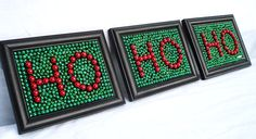 "Framed Mardi Gras Bead Christmas ""Ho Ho Ho""  red and green"