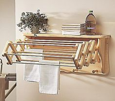 Home Essentials For Small Spaces: Drying Rack Shelf Once your small load of laundry is clean, let your clothes air dry with the help of this wall-mount drying rack ($99). And this compact shelf folds out for 18 feet of drying space.