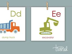 "Kids Room Wall Art, Vehicle Alphabet, Alphabet Border Cards : 8x8"" Prints, Free Shipping by trestled on Etsy https://www.etsy.com/listing/192063177/kids-room-wall-art-vehicle-alphabet"
