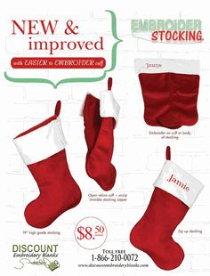 """Easy to Embroider Stocking - 19"""""""