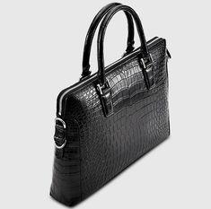 Luxury Alligator Briefcase, Luxury Alligator Laptop Bag for Men-Black-Left Crocodile, Mens Leather Laptop Bag, Laptop Bag For Women, Womens Designer Bags, Latest Bags, Work Bags, Leather Bags Handmade, Replica Handbags, Laptop Stand