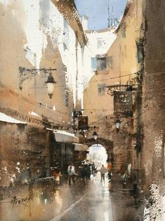 Old Town Hyères 36 x 27cm . watercolor Demo by 簡忠威 (Chien Chung-Wei)
