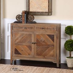 Built from #reclaimed fir wood, this console features swing out doors and two drawers. #console