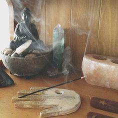 Buddha, crystals incense altar shrine