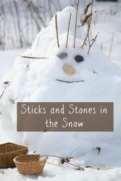 sticks and stones in the snow - happy hooligans - natural element play Forest School Activities, Nature Activities, Toddler Activities, Snow Activities, Winter Crafts For Kids, Winter Fun, Winter Theme, Winter Ideas, Snow Theme