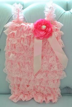 Pink Lace Baby Romper - Baby Romper- Girls Romper- Hot pink and Pearl