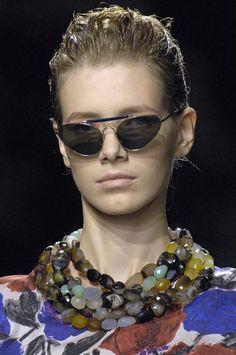 Dries Van Noten multi strand semi-faceted precious gemstone statement necklace