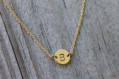 Tiny Gold Initial Necklace  Hand-stamped Personalized by JewelryVV