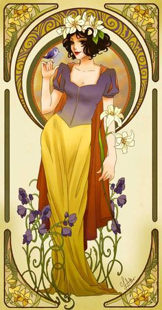 Art Nouveau Disney Princesses--some are a touch anime but still worth a look for the Alphonse Mucha fan! Art Nouveau Disney, Walt Disney, Disney Love, Disney Magic, Disney Couples, Disney And Dreamworks, Disney Pixar, Disney Characters, Disney Princesses