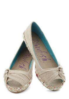 CUTEST SHOES EVER!!!! :D <3 Between Bungalows Flat in Tan, #ModCloth