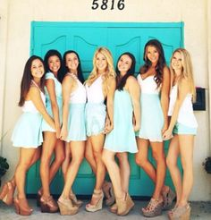 Wedges are ideal because they're a bit easier to walk/stand in than heels are and the aqua color bottoms are very cute! Sorority Recruitment Outfits, Sorority Rush, College Sorority, Sorority Life, Sorority Girls, Kappa Delta, Alpha Chi, Rush Week, Best Friend Photos