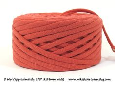 'Let There Be...' Light Rust Orange Recycled T Shirt Yarn. 48 Yds Crafting Cord from MikesTShirtYarn