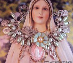 Catholic Virgin Mary OL Fatima Cameo , Saints Religious Medals Charm Bracelet www.letyscreations.com