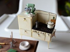"""creativeanchorage: """" allthesmallthingsminiatures: """" 1920's Miniature Stove - Dollhouse Miniature by 2smartminiatures on Flickr. """" Handmade from cardboard, clay, and paint! """""""