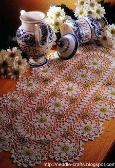 مفرش كروشيه جديد بالباترون - new oval crochet doily pattern ~ شغل ابره NEEDLE CRAFTS