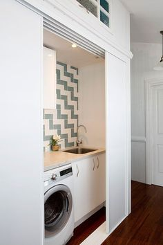 59 European Laundry Room That Always Look Awesome - Futurist. - 59 European Laundry Room That Always Look Awesome – Futuristic Interior Designs Technology Inspi - Laundry Cupboard, Laundry Closet, Small Laundry, Laundry In Bathroom, Hidden Laundry Rooms, Hidden Kitchen, Bathroom Closet, Interior Design And Technology, European Laundry