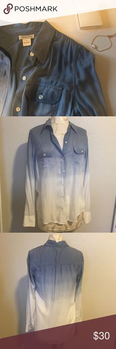 Lucky brand button down top N.001 Beautiful ombré button down in excellent condition, no flaws to be noted. Silly feel and is perfect for light layering. 100% rayon. Lucky Brand Tops Button Down Shirts