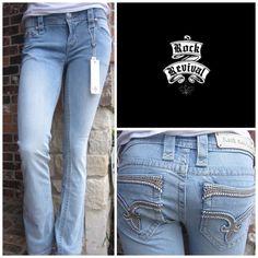 "Rock Revival Dee Boot Cut Jeans Rock Revival Dee Boot Cut Jeans in Light Blue Wash.  98.5% cotton, 1.5% elastane.  Five pockets, belt loops, zip fly.  Approx measurements 15"" waist, 8"" rise, 34"" inseam.  Machine washable. Rock Revival Jeans Boot Cut"