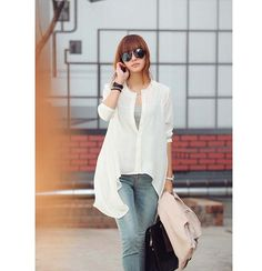 Cheap Wholesale Casual Scoop Neck Long Sleeves Solid Color Shorter Front Buttons Chiffon Women's Blouse (WHITE,ONE SIZE) At Price 8.74 - DressLily.com